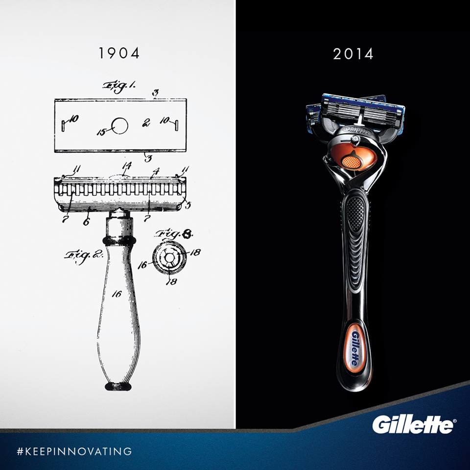 Gillette 110th anniversary evolution razor design social media good behaviour