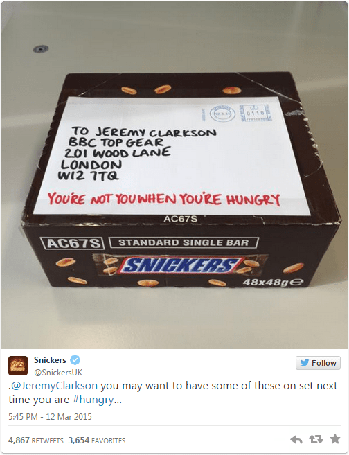 snickers tweet jeremy