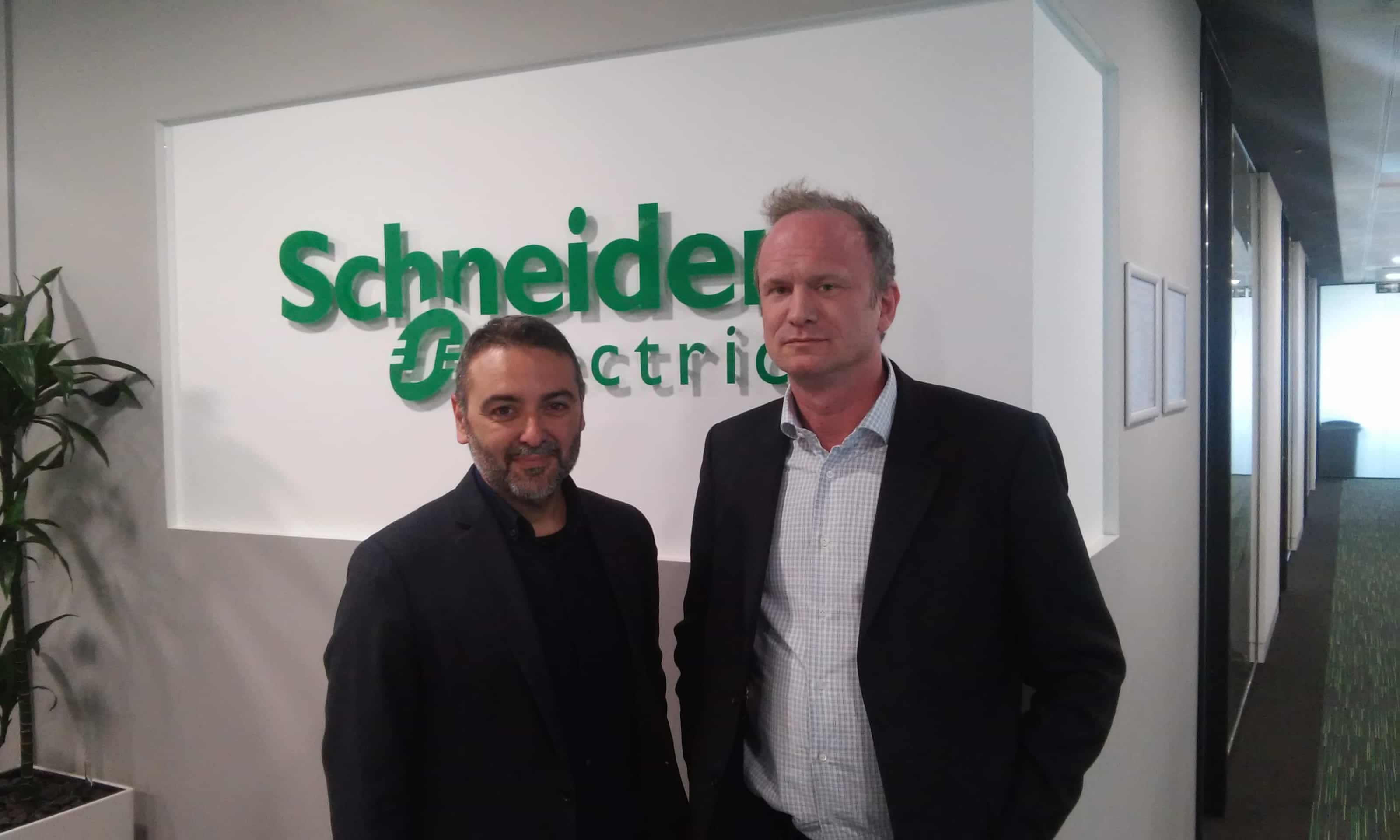 Elliot and Giuseppe Caltabiano at Schneider Electric after recording a podcast on global content marketing