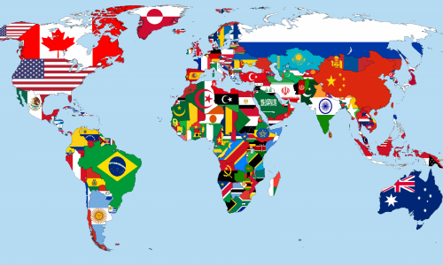 world map with flags showing culture shocks from around the world